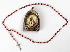 Vintage Pocket Shrine,pendant,heart of Jesus Glass Box,Rosary.Czechoslovakia