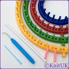 KnitUK Round Knitting Loom Set of 4. 1 Set / 4 Looms. Extra-pegs Included.