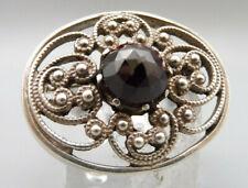 Prachtvolle antike trachtige Rarität Brosche Silber mit verzierungen und Granat
