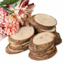 25pcs Natural Wooden Slices Oval Blank Wood Pieces Unpainted DIY Crafts