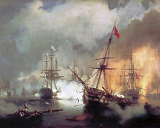 Battle Of Navarino Naval Ship Sea Scape Russian Painting Art Real Canvas Print