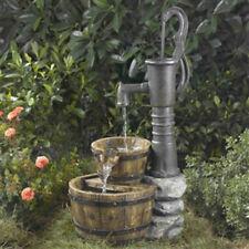 Outdoor Water Pump Half Whiskey Barrel  Water Fountain Garden Pond Bird Bath
