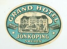 Grand Hotel Jönköping Sweden Vintage Hotel Luggage Label Tag Tourism Travel