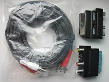 10m FLAT SCART LEAD TO PLUG CABLE DVD AV-TV 10m ,3 PHONO RCA EXTENSION BOX.