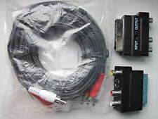 5m SCART conducen a plug Cable DVD AV-TV 5m Caja de extensión RCA Phono 3 Metro
