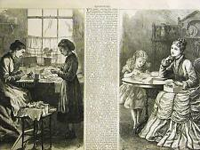 Valintine's Day MAKERS & RECEIVERS SEWING CARDS GIFTS 1875 Antique Print Matted