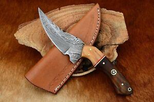 MH KNIVES CUSTOM HANDMADE DAMASCUS STEEL FULL TANG HUNTING/SKINNER KNIFE D-40I