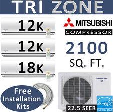 42000 BTU Tri Zone Ductless Mini Split Air Conditioner, Heat Pump: 12k-12k-18k