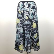 Isda and Co Black Sheer Skirt A-line Floral Leaf 100% Silk Bias Cut Womens 8