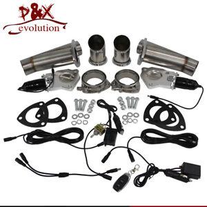 "2.25"" Dual Exhaust Catback Downpipe Cutout E-Cut Valve + Remote +Toggle Control"