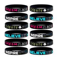 Sport Dream Create Believe Inspire silicone wristband rubber bracelet New LF
