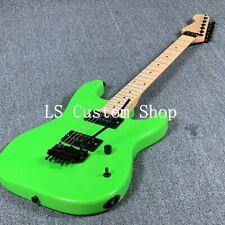 US Stock ST Electric Guitar Floyd Rose Bridge Reverse Neck Black Hardware Green