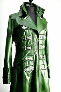 Ladies Antique Green Steampunk Full Length Long Leather Victorian Gothic Coat