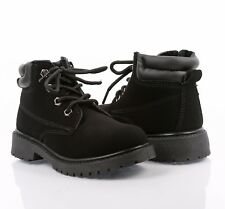 BLACK COLOR MILITARY COMBAT STYLE GIRLS LACE UP KIDS ANKLE BOOTS YOUTH SIZE 12