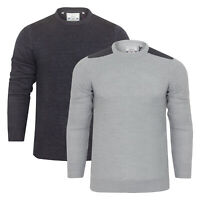 CLEARANCE New Men's Brave Soul Patchwork Cable Knit Jumper Grey & Charcoal S-XL