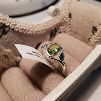 Stunning Peridot Solitaire Ring in Platinum over Sterling Silver