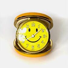 Vintage Seth Thomas Smiley Face Travel Alarm Clock Yellow