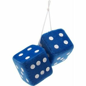 """3"""" Blue Fuzzy Dice with White Dots - Pair rat truck"""