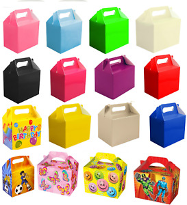 12 x Childrens Kids Party Lunch Boxes Colour Birthday Wedding Meal Food Loot Bag