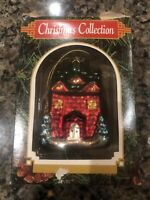 Vintage Blown Glass Christmas Tree Ornament Snow Covered Red House
