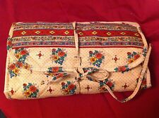 Cosmetic tri fold travel case with plastic containers- floral print on beige