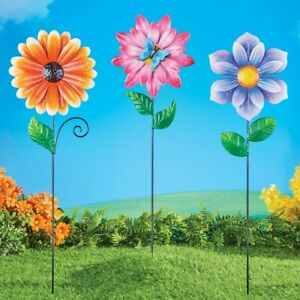 Set of 3 Large Beautifully Colored Artificial Metal Flower Garden Stakes