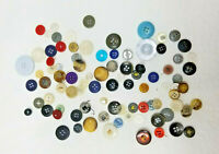 Close to 100 Vintage Buttons Various Sizes Mostly Plastic