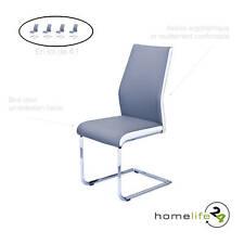 Chaise polyvalente métal chromeé assise gris en set de 4