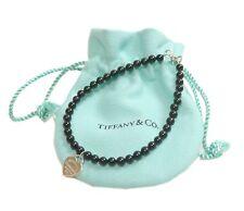 Auth Tiffany & Co. Bracelet Return to Heart Onyx Black Sterling Silver #11368