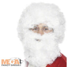 Mens Santa Claus Beard & Wig Set Father Christmas Fancy Dress Costume Accessory