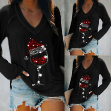 Womens Christmas V Neck T-shirt Ladies Long Sleeve Casual Top Blouse Tee