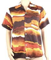 Vintage Hukilau Fashions Mens Hawaiian Shirt Size Medium Orange Sky Clouds