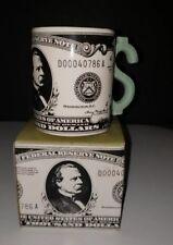 Vintage 1991 Five & Dime $1000 Bill Dollar Sign Handle 12 Oz Coffee Mug NOS