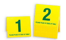 Plastic Table Numbers 1-20, Tent Style, Yellow w/ Green Number, Free shipping