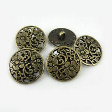 12PCS Zinc Alloy Pierced Round Flower Carving Shank Buttons 15mm