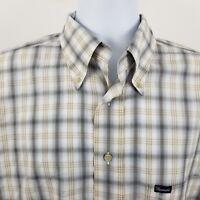 Faconnable Brown Gray Plaid Check USA Men's L/S Casual Button Shirt Sz Large L