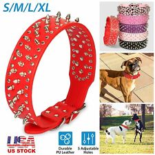 Pet Dog Collar Spiked Studded Durable Pu Leather Adjustable For Pit Bull Mastiff