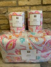 Pottery Barn Teen multi colors Marni Floral paisley full queen quilt 2 Shams New