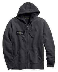 Harley-Davidson® Men's Eagle Logo Slim Fit Zippered Hoodie, Steel Gray, SMALL