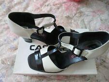 Vintage Women Shoes Castello Italy Black White Size 11 Open Toe T Ankle Strap