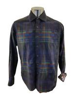 Robert Graham Men's Blue Multi Striped Button Front Flip Cuff Shirt Sz L
