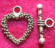 50Sets WHOLESALE Tibetan Silver HEART Toggle Clasps Connectors Hooks Q0963
