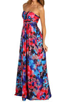 Jessica Simpson Padded Bust Strapless Floral Print Maxi Full Length Dress 6 Nwt