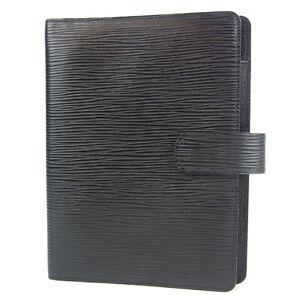 Auth LOUIS VUITTON R20202 Epi Agenda MM Daily Planner Cover Black 12615bkac