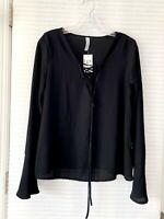 Peppermint Womens Trumpet Long Sleeve Black Blouse Size L - NWT