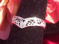 Vintage Jewelry 925 Sterling Silver Filigree Open Work Wedding Band Ring. Sz 8