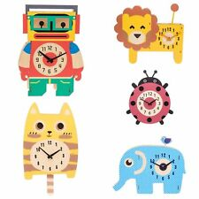Children's Clock PENDULUM Kids Bedroom Lion Robot Cat Elephant Ladybird Kitchen