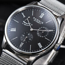 Parnis 42mm Seagull Power Reserve Movement Men's Automatic Watch Black Dial