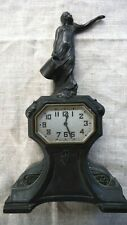 New ListingRare E Ingraham A Schadow & Sons Metal Figural Mantle Clock Bank & Lamp As-Found