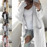 Womens Chunky Knitted Sweater Open Front Pocket Coat Long Cardigan  Tops Jacket